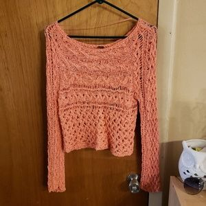 Free people loose knit pink cropped sweater